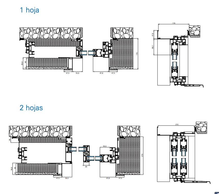 Hoja Oculta Technal Corredera Galandage Carpintería Aluminio